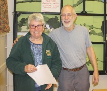 Val receives her Master Beekeeper certificate from Jim