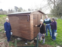 Preserving the small shed. Good work girls, and Jim! (15/3/2014)